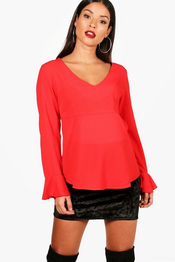 Maternity Ruffle Long Sleeve Blouse