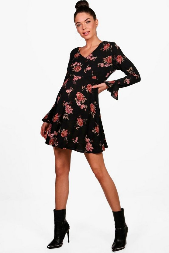 Maternity Nina Floral Ruffle Hem Skater Dress