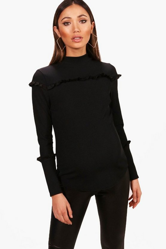 Maternity Katie Ribbed Frill Long Sleeve Top