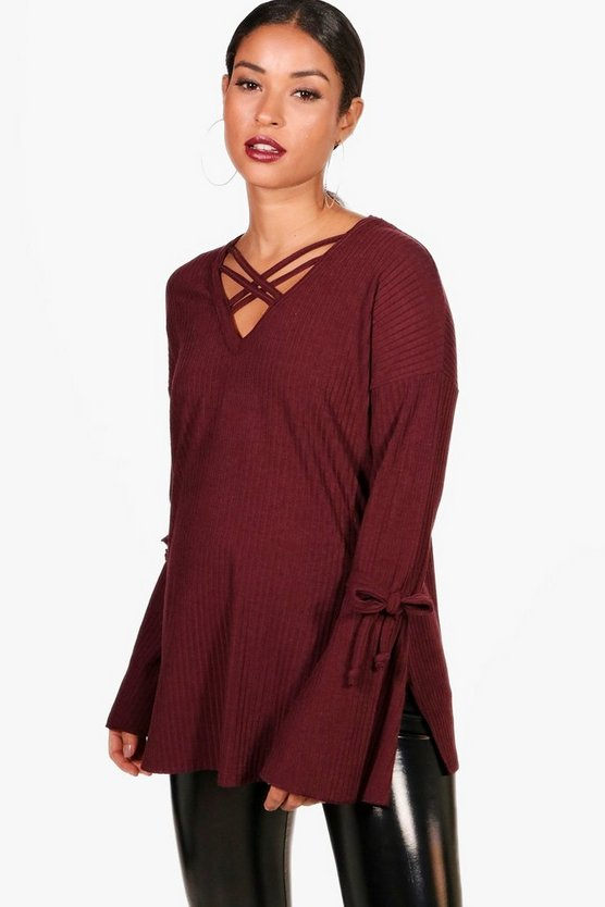 Maternity Gemma Strappy Detail Rib Jumper