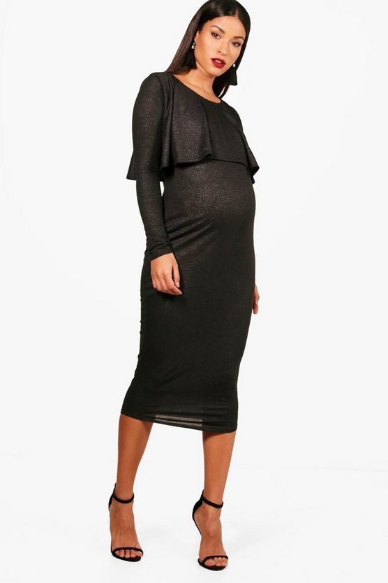 Maternity Shimmer Ruffle Midi Dress