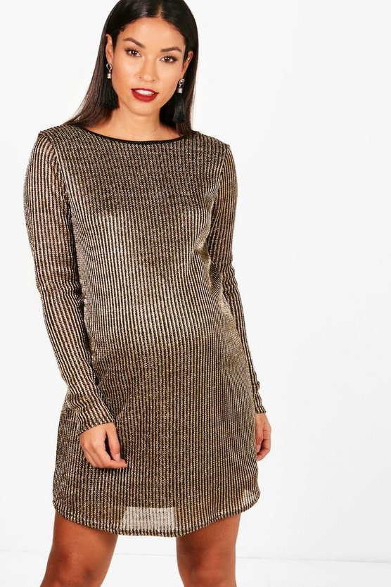 Maternity Holly Gold Metallic Shift Dress