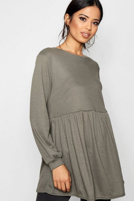Maternity Flare Sleeve Ribbed Smock Top