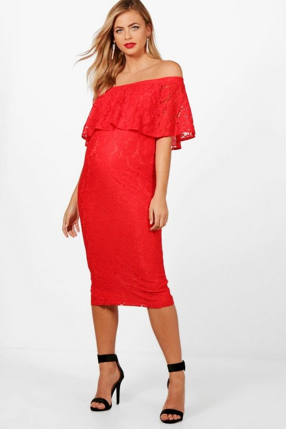 Maternity Amber Off The Shoulder Lace Midi Dress