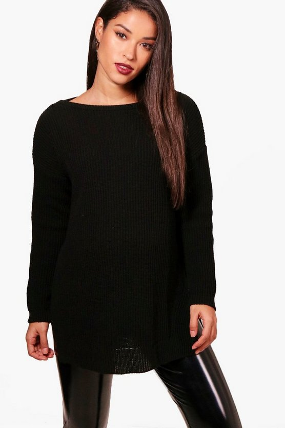 Maternity Side Split Crew Neck Jumper