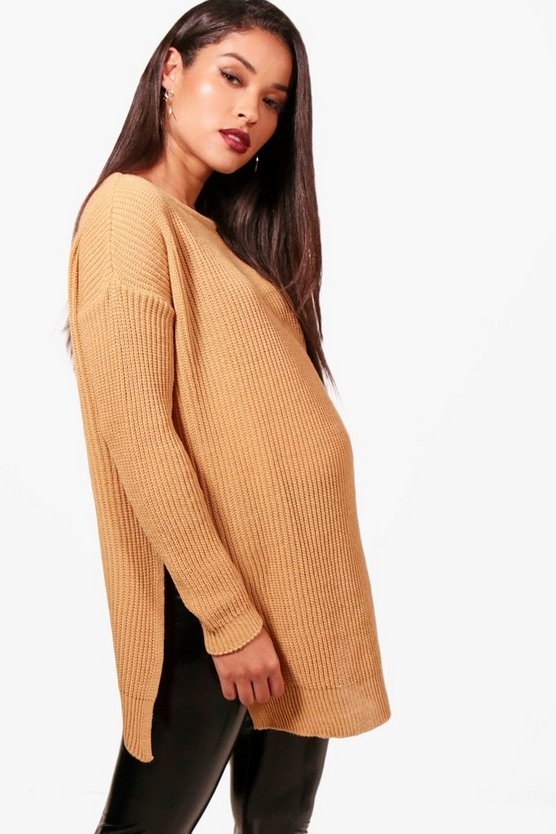 Maternity Sarah Side Split Crew Neck Jumper