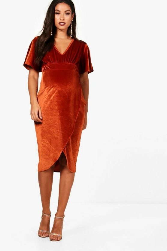 Maternity Plunge Neck Velvet Midi Dress