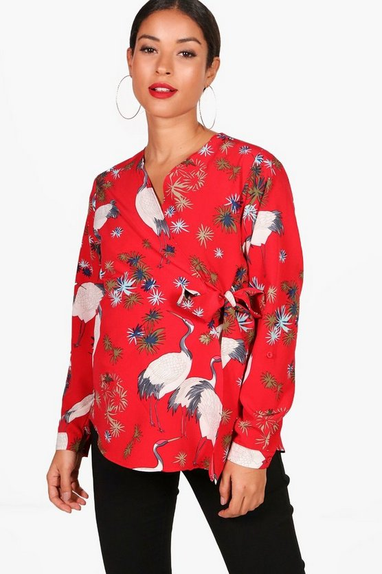 Maternity Deane Oriental Printed Wrap Top