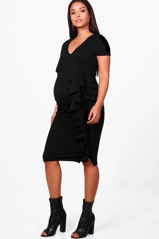 Maternity Ruffle Front Midi Dress