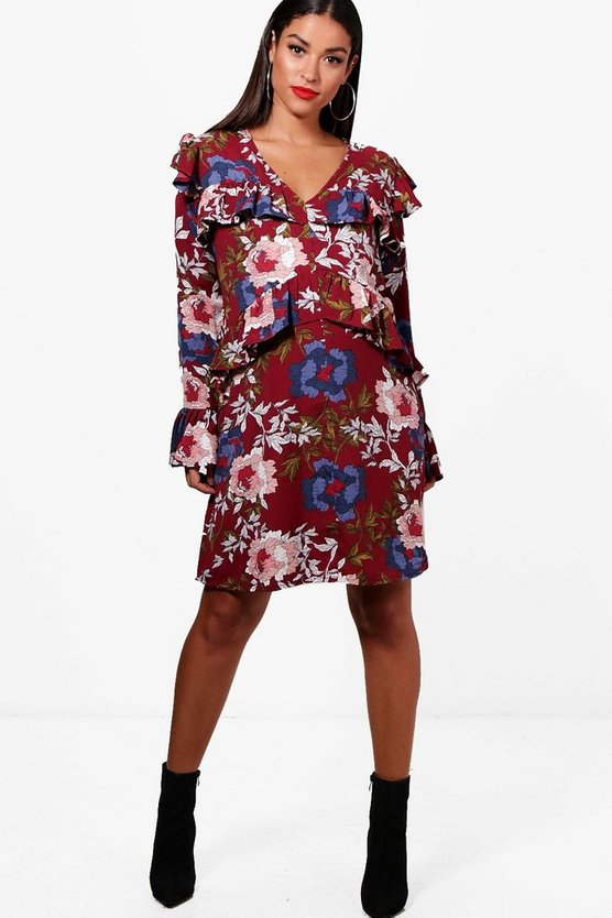 Maternity  Oriental Printed Ruffle Shift Dress