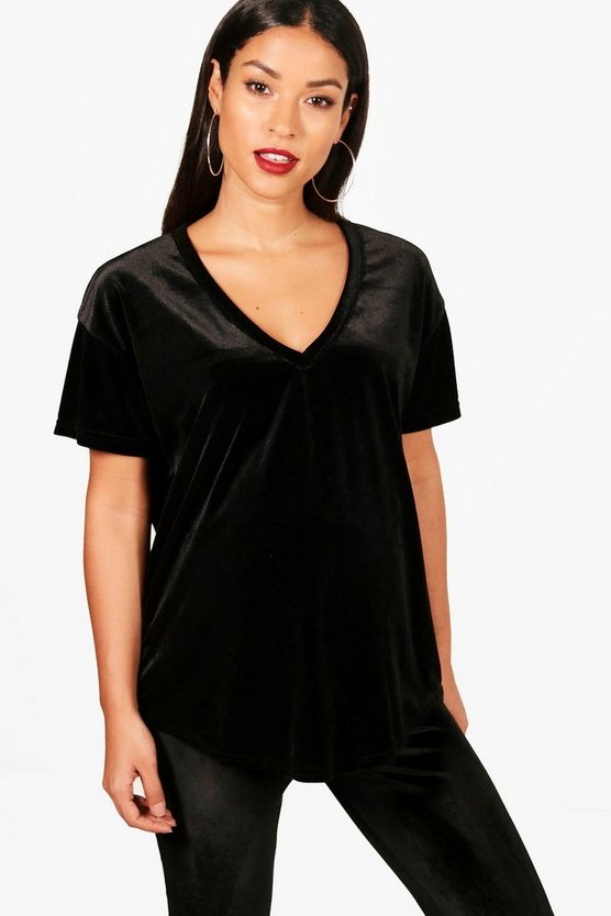 Maternity Molly Oversized V Neck Velvet T-Shirt