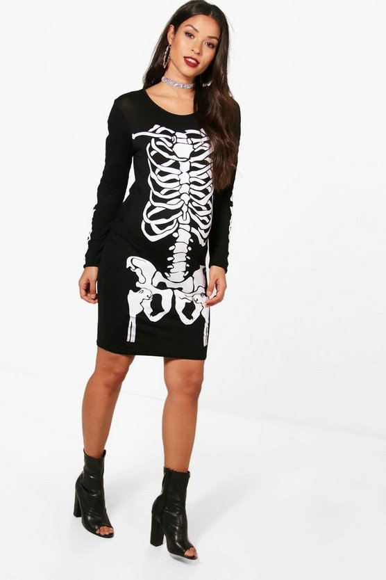 Maternity Skeleton Printed Halloween Dress