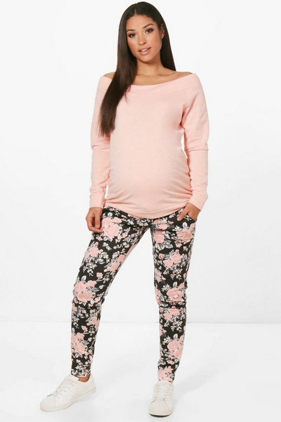 Maternity Jess Bardot Top And Floral Jogger Set