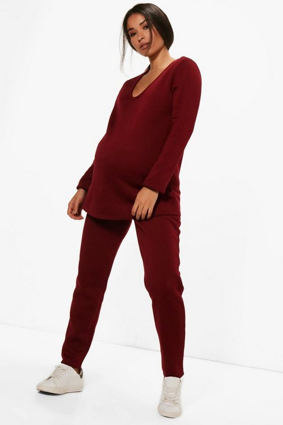Maternity Nicola V Neck Top + Lounge Jogger Set
