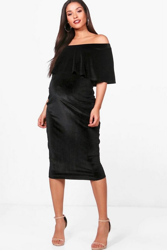 Maternity Off The Shoulder Velvet Midi Dress