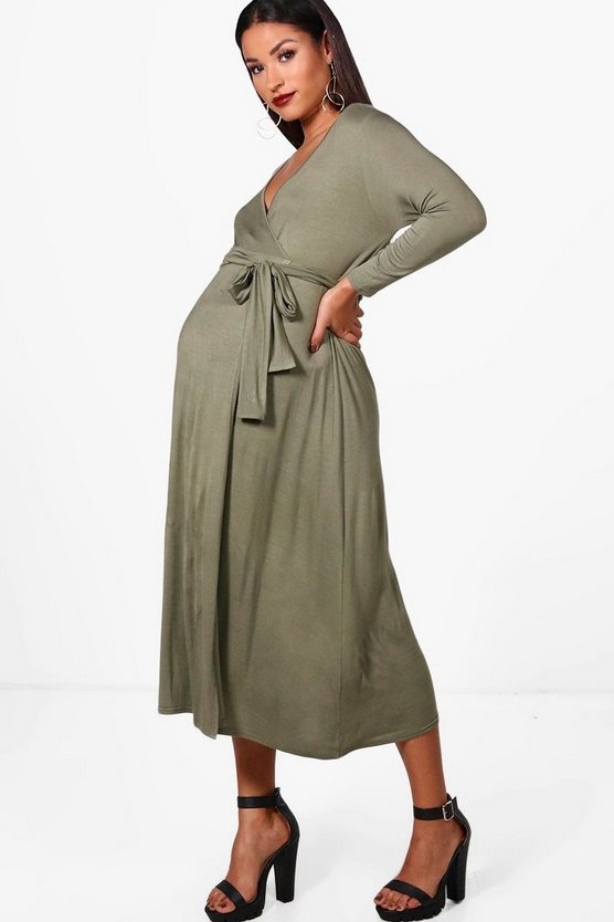 Maternity Rosie Long Sleeved Wrap Midi Dress