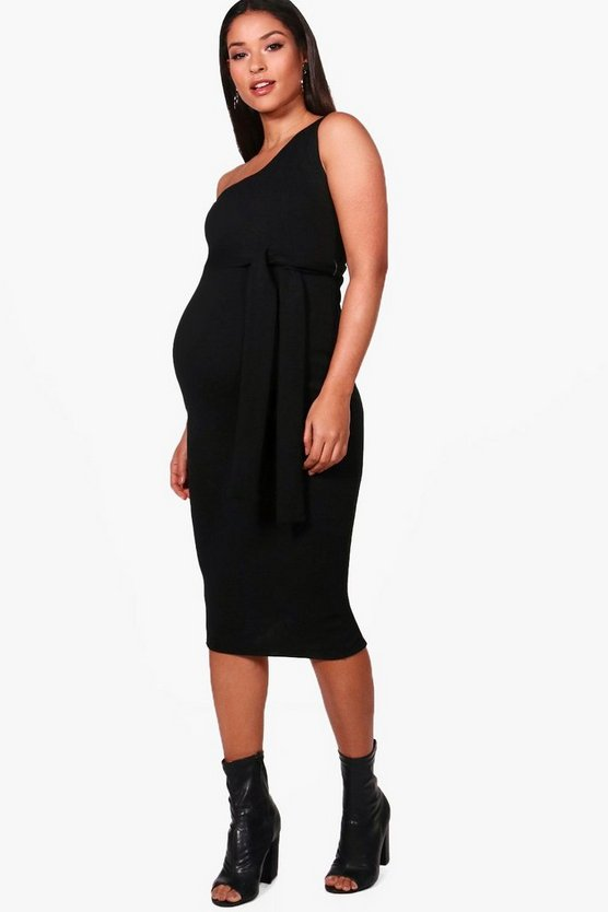 Maternity Lola One Shoulder Belted Midi Dress