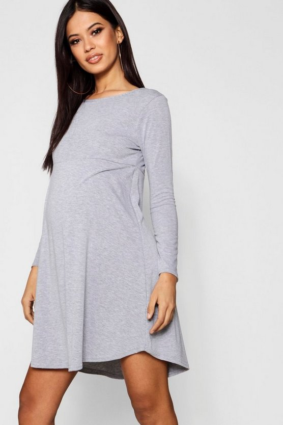 Maternity Rachel Long Sleeve Smock Dress