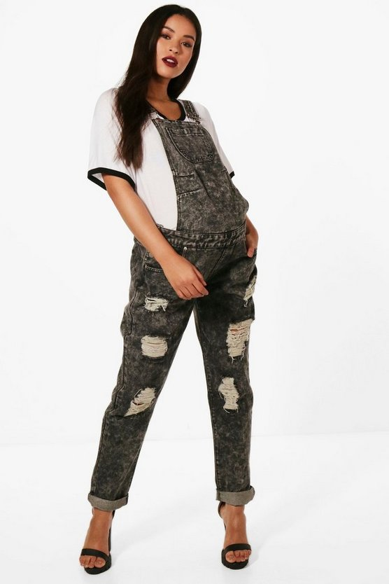 Maternity Louise Ultra Ripped Acid Wash Dungarees