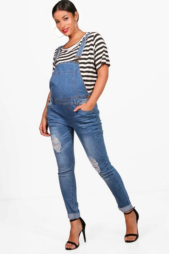 Maternity Tia Ultra Ripped Mid Wash Dungaree