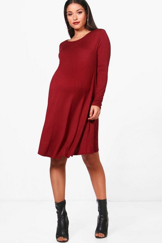 Maternity Kerrie Swing Dress With Long Sleeves