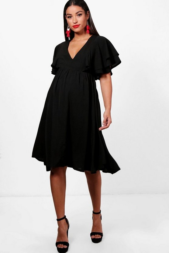 Maternity Ruffle Angel Sleeve Midi Dress