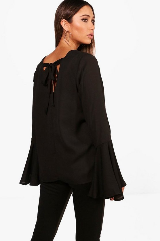 Maternity Tanya Tie Back Flute Sleeve Blouse