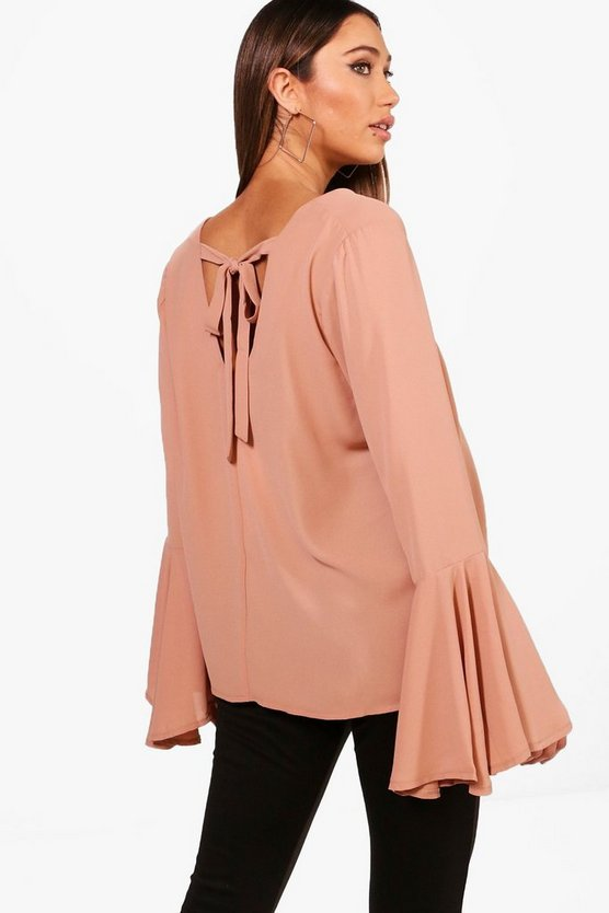 Maternity Tie Back Flute Sleeve Blouse