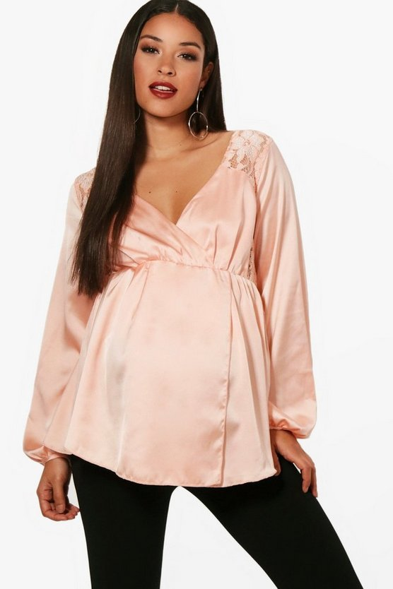 Maternity Tara Drape Front Lace Panel Blouse