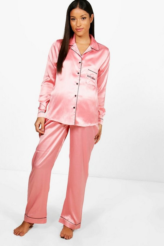 Maternity Bethany Baby Mama Embroidered PJ Set