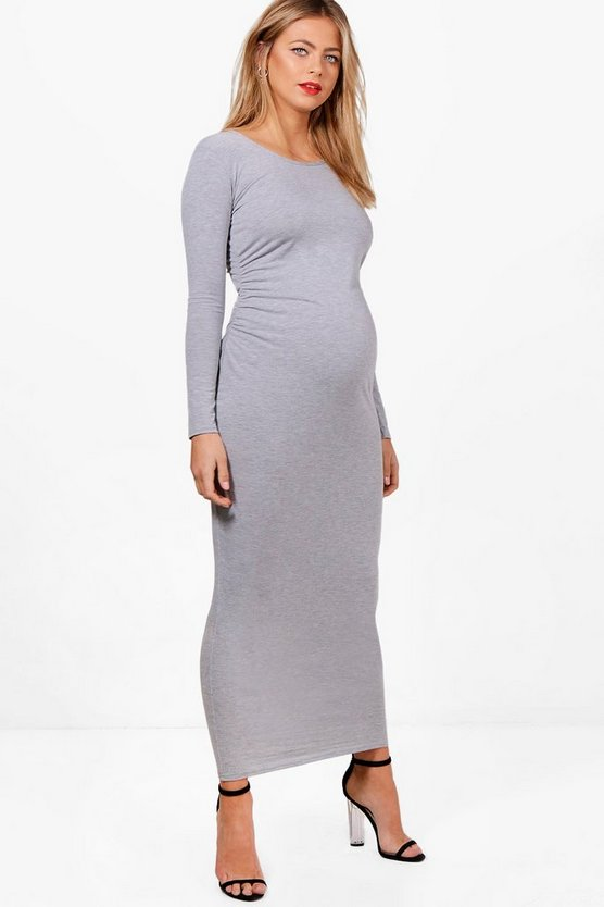 Maternity Grace Basic Long Sleeve Maxi Dress