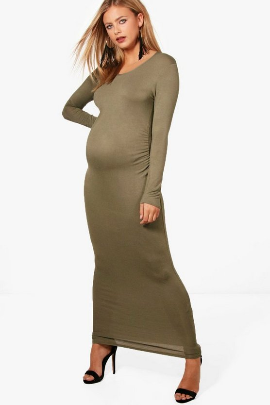 Maternity Basic Long Sleeve Maxi Dress