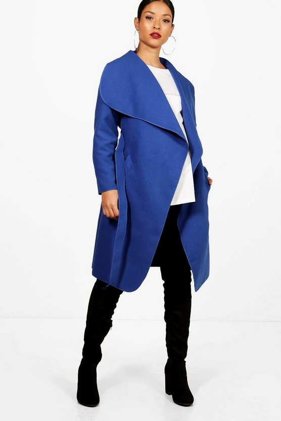 Maternity Alison Tie Waist Shawl Collar Coat