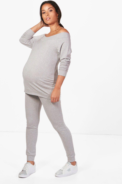 boohoo Womens Maternity Bardot Top & Lounge Set - Grey - 10, Grey