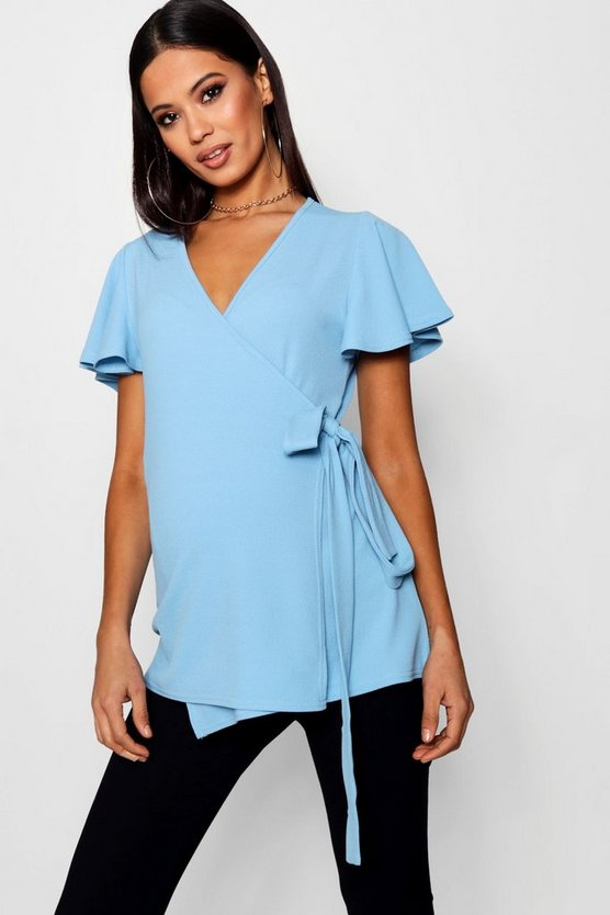Maternity Connie Crepe Wrap Top