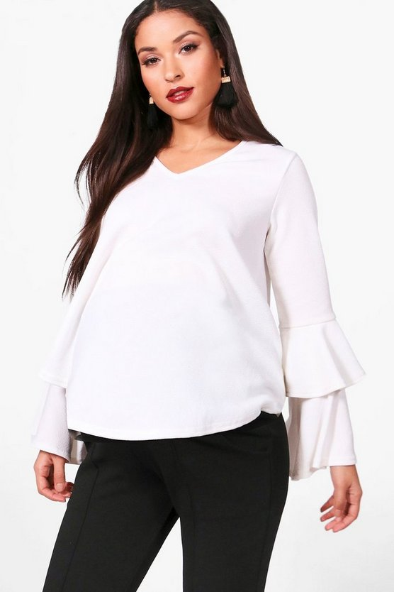 Maternity Casey V Neck Crepe Ruffle Top
