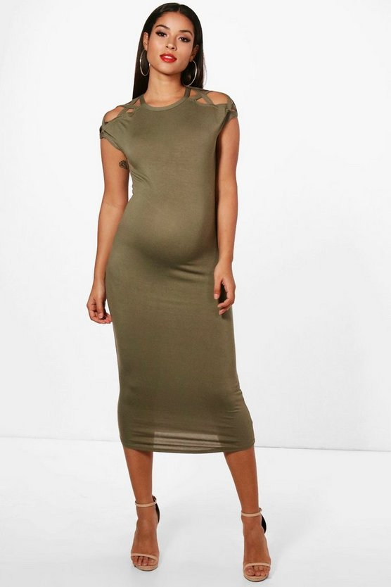 Maternity Lola Strappy Detail Shoulder Midi Dress