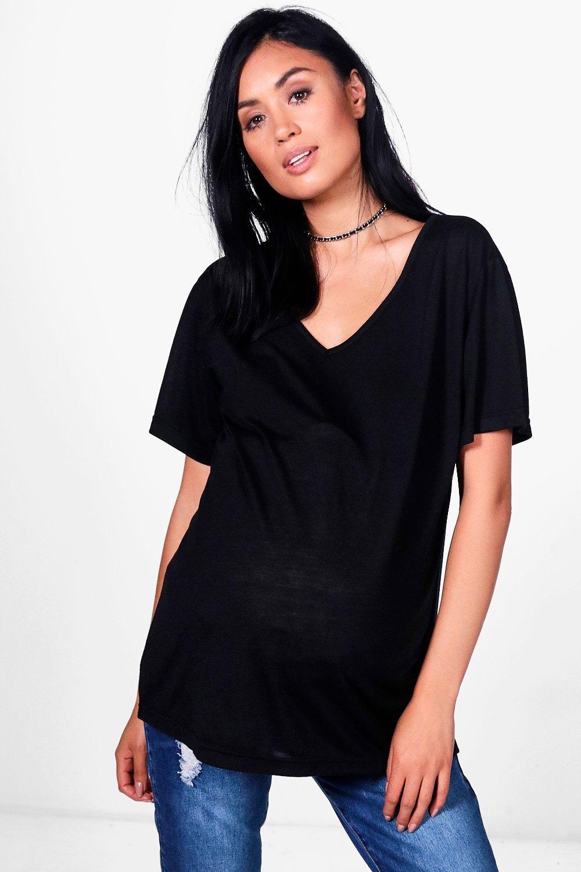 Womens Mama Superweiches T-Shirt mit V-Ausschnitt - Schwarz - 34, Schwarz - Boohoo.com