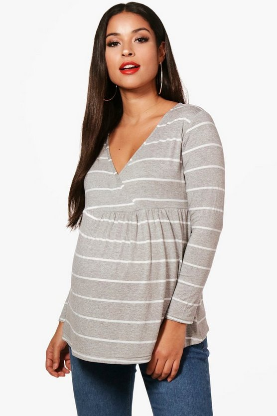 Maternity Mollie Stripe Wrap Front Smock Top