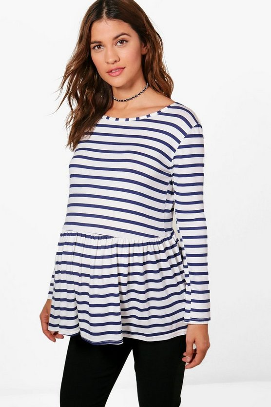 Maternity Darcey Stripe Frill Hem Top