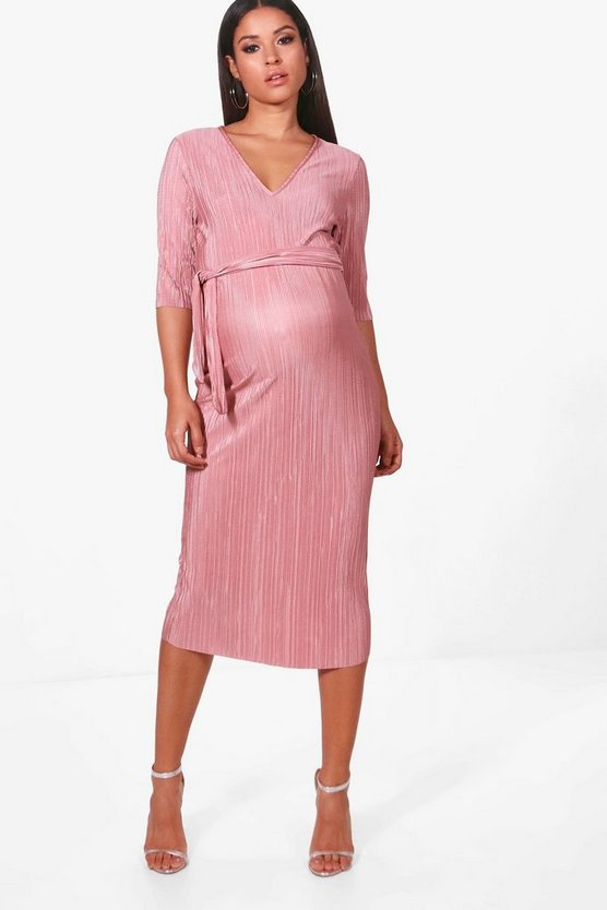 Maternity Hope Pleated Midi Dress