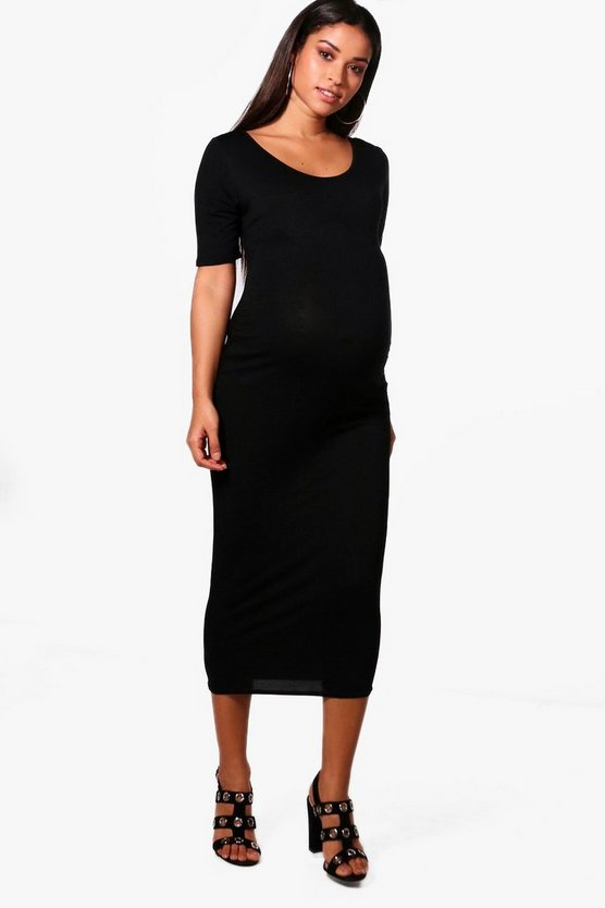 Maternity Skye Scoop Neck Bodycon Midi Dress