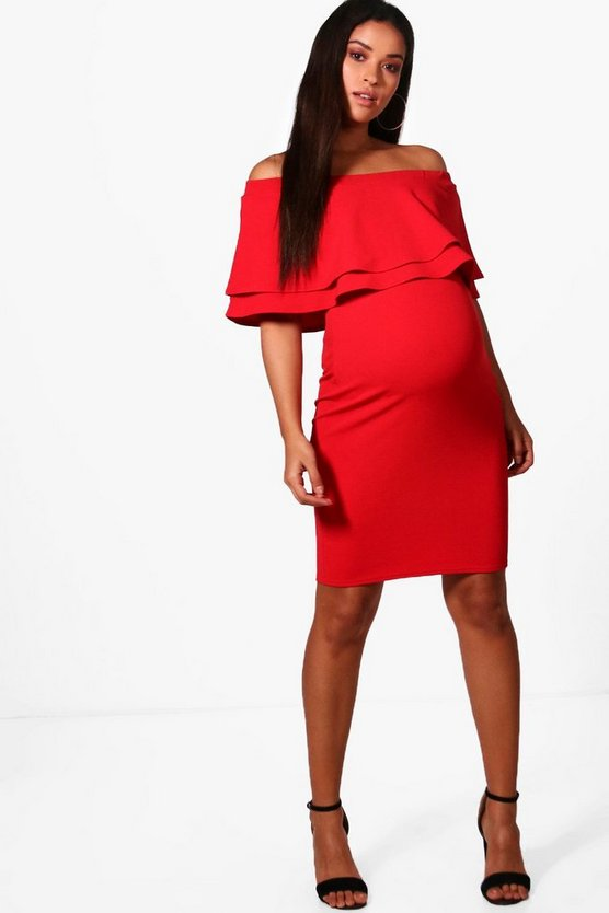 Maternity Ivy Off Shoulder Frill Bodycon Dress