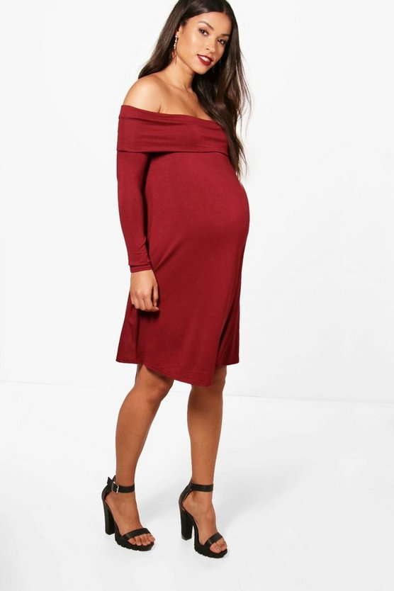 Maternity Rose Off The Shoulder Swing Dress