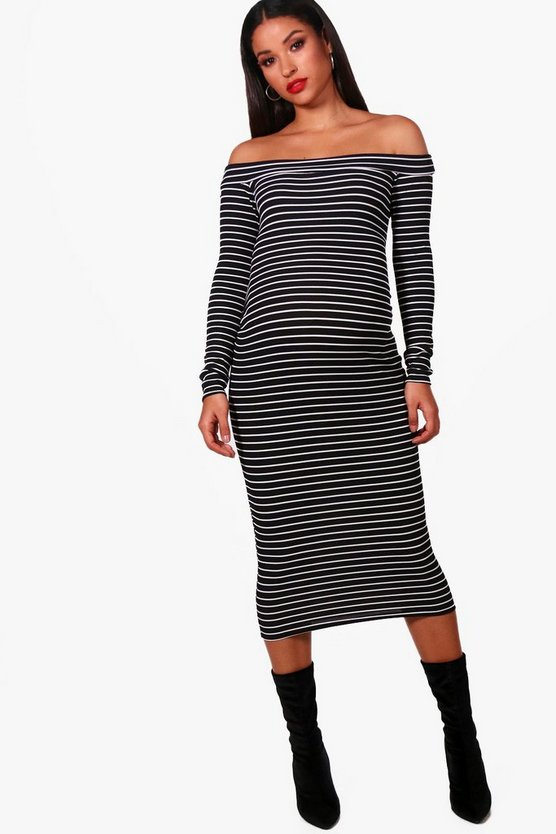 Maternity Lyla Stripe Off The Shoulder Bodycon Dress