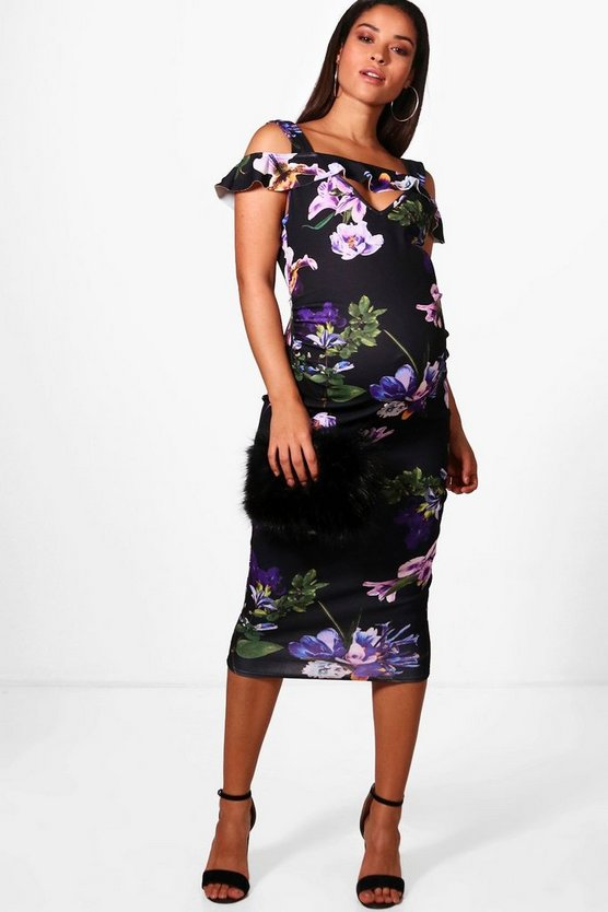 Maternity Nicole Floral Open Shoulder Midi Dress