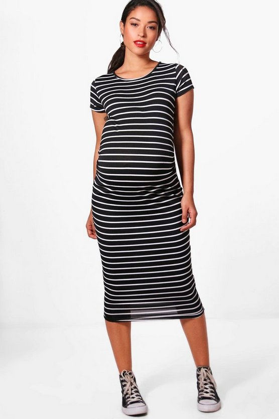 Maternity Clara Striped Cap Sleeve Midi Dress