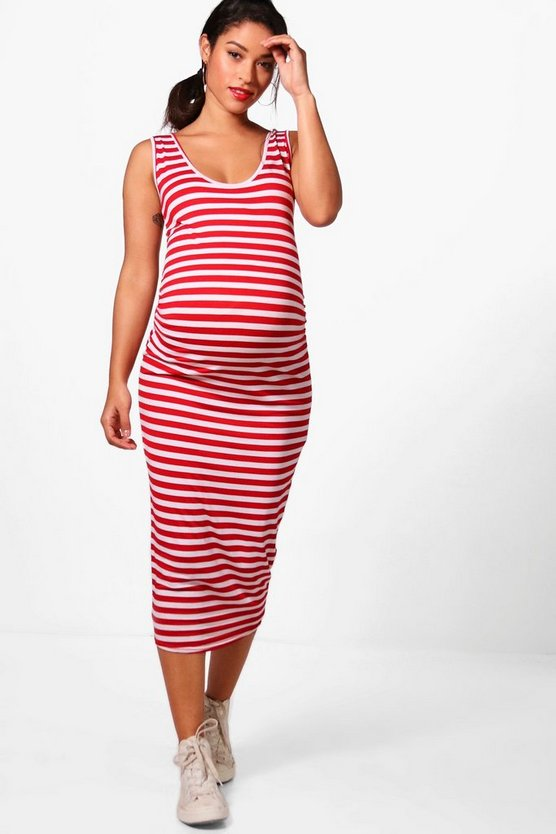 Maternity Molly Stripe Strappy Midi Bodycon Dress