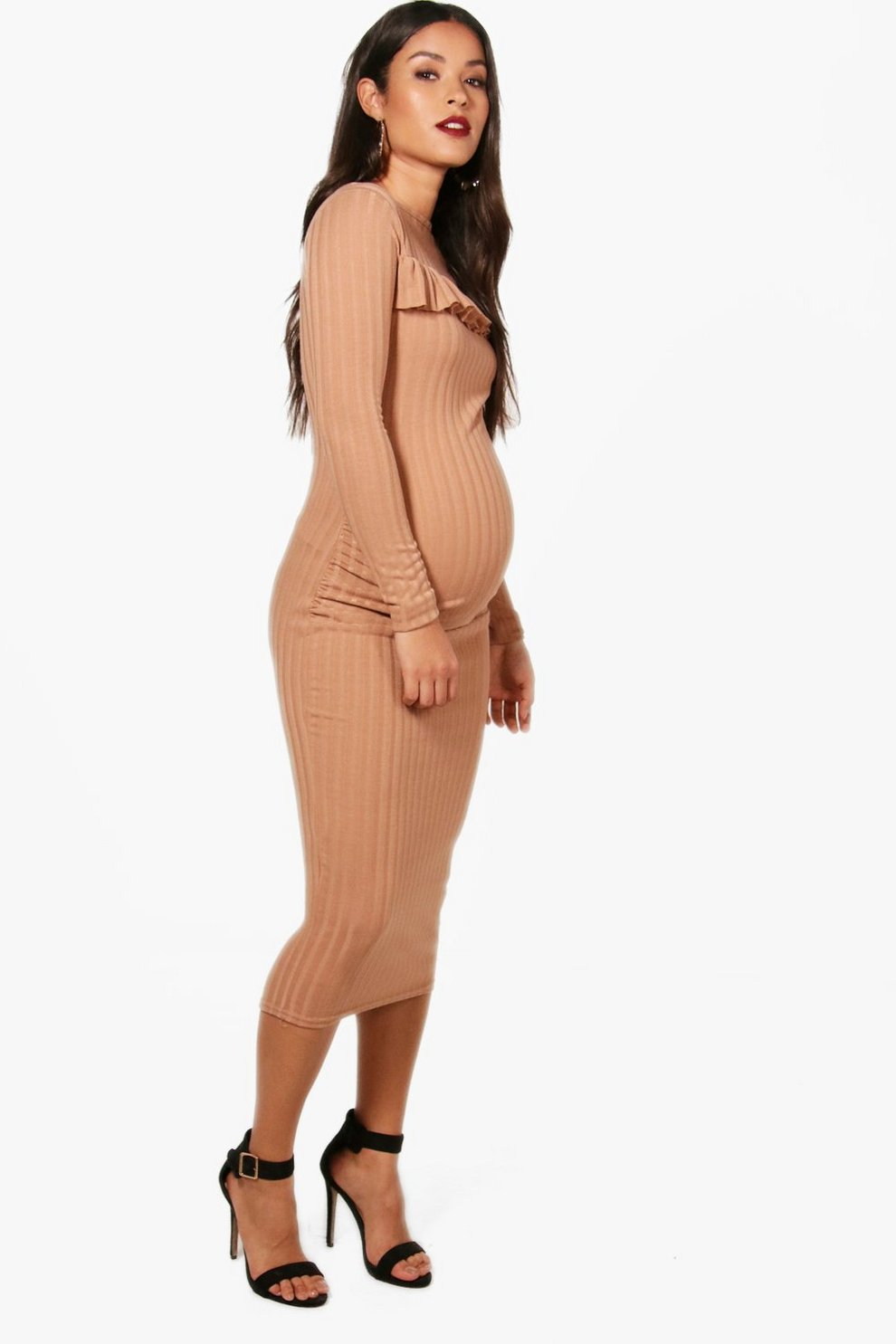 Boohoo Maternity Hayley Ruffle Detail Ribbed Long Sleeve Midi Dress Clearance Comfortable 2xE1Lv