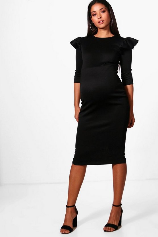 Maternity Kate Scuba Ruffle Shoulder Midi Dress